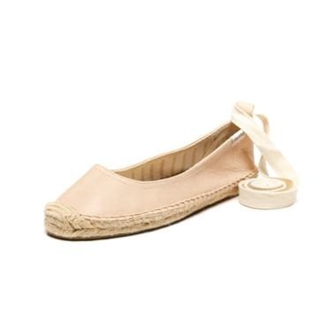 Soludos Ballet Flat Ankle Tie Up In Nude Leather