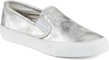 Sperry Seaside Metallic Sneaker Silver, Size 6m Women's