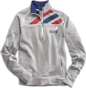 Sperry Us Sailing Team Quarter Zip Fleece Jacket Grey, Size L Women's