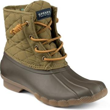 Sperry Saltwater Quilted Duck Boot Olive, Size 5m Women's