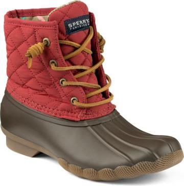 Sperry Saltwater Quilted Duck Boot Red, Size 5m Women's