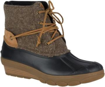 Sperry Saltwater Wedge Tide Wool Duck Boot Brown/canteen, Size 5m