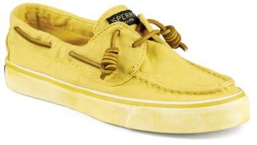 Sperry Bahama Washed Canvas Sneaker Yellow, Size 6m Women's Shoes