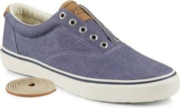 Sperry Striper Chambray Sneaker Navy, Size 8m Men's Shoes