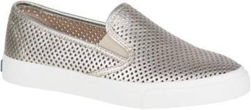 Sperry Seaside Perforated Sneaker Platinum, Size 10m Women's Shoes
