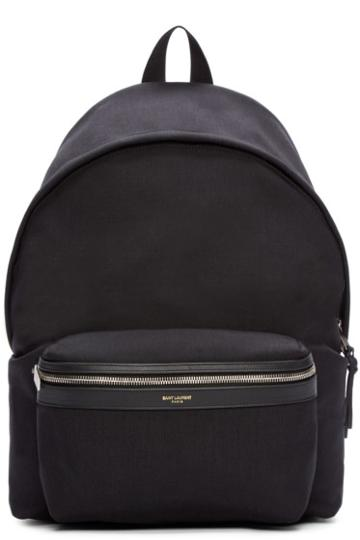 Saint Laurent Black Canvas Hunting Backpack