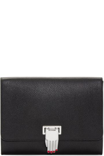 Opening Ceremony Black Leather Hand Clasp Nokki Clutch
