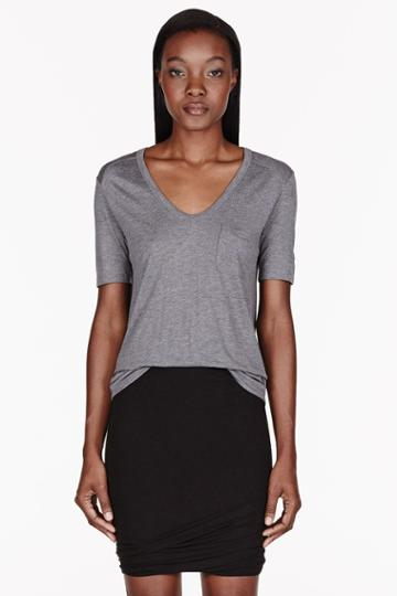 T By Alexander Wang Heather Grey Classic Pocket T-shirt