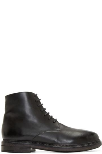 Marsèll Black Leather Combat Boots
