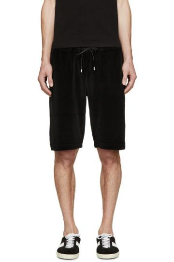 Versace Black Velour Medusa Shorts