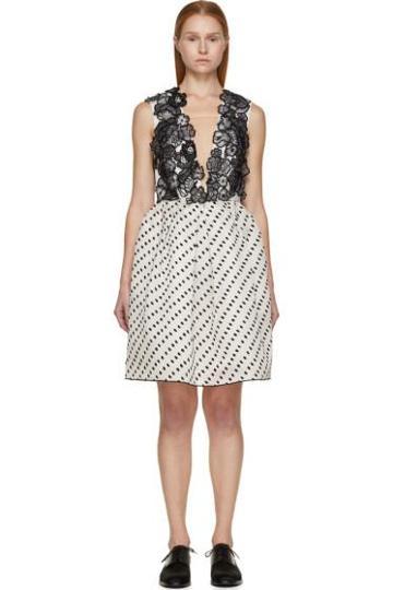 Erdem Black And White Silk Becca Dress