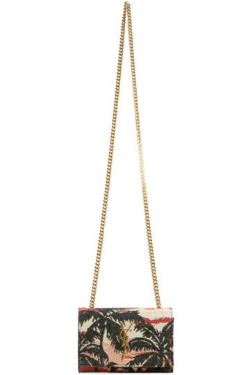 Saint Laurent Red And Orange Sunset Small Monogram Chain Bag