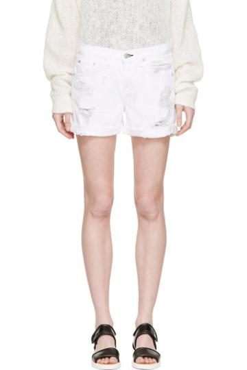 Rag And Bone White Distressed Boyfriend Shorts