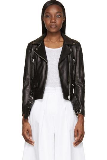 Acne Studios Black Leather Mock Biker Jacket