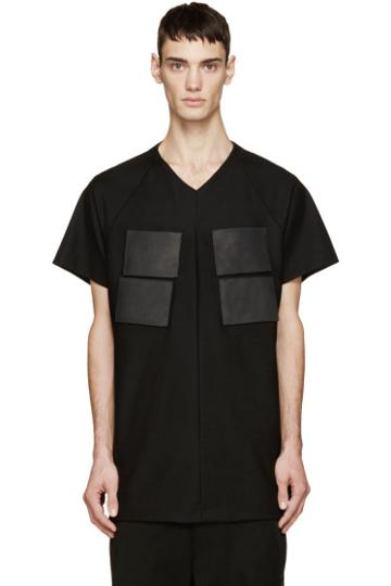 Julius Black Leather Patch T-shirt