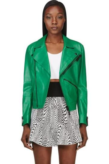 Kenzo Green Leather Embroidered K-zip Biker Jacket