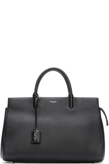 Saint Laurent Black Leather Medium Cabas Rive Gauche Tote