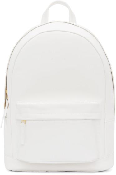 Pb 0110 Matte White Small Leather Backpack