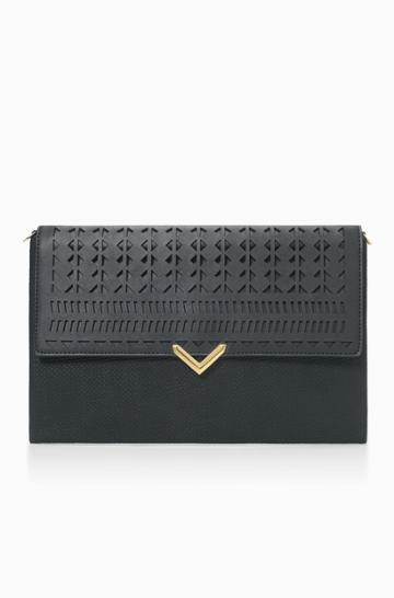 Stella & Dot City Slim Clutch - Black Perf