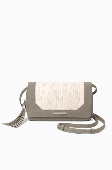 Stella & Dot Nolita Medium Crossbody - Winter White/dove Grey