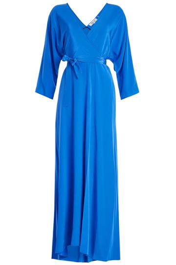 Diane Von Furstenberg Diane Von Furstenberg Floor Length Silk Wrap Dress