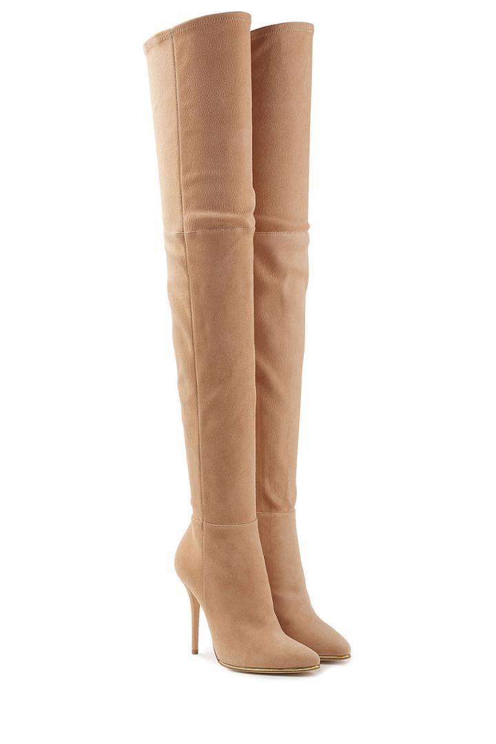 Balmain Balmain Suede Thigh-high Boots - Beige
