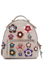 Fendi Fendi Leather Backpack With Embellished Flower Appliques - Grey