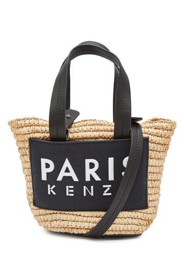 Kenzo Kenzo Mini Logo Straw Shopper