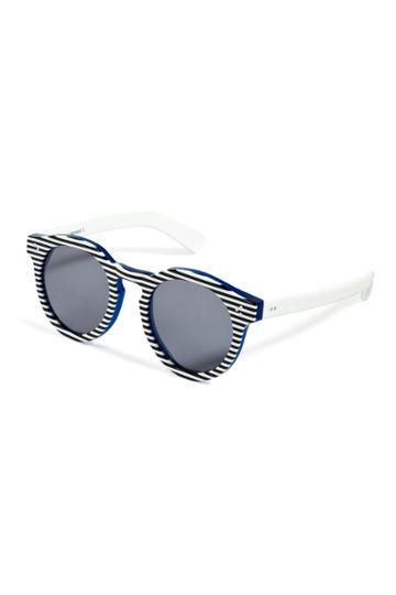 Illesteva Illesteva Leonard 2 Striped Sunglasses In Blue/white