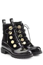 Alexander Mcqueen Alexander Mcqueen Leather And Velvet Ankle Boots - Black