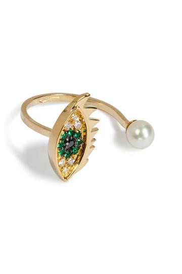 Delfina Delettrez Delfina Delettrez Cartoon Eye And Pearl Ring - Gold