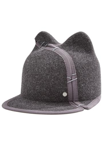 Maison Michel Maison Michel Felted Wool Cat Ear Cap - Grey