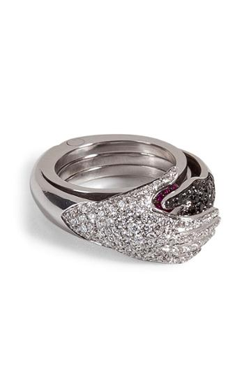 Delfina Delettrez Delfina Delettrez Diamond/ruby Secret Hands Ring - Silver