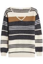 Brunello Cucinelli Brunello Cucinelli Striped Wool, Cashmere And Silk Pullover