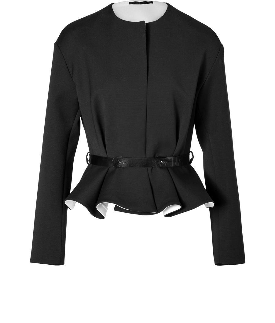 Viktor Amp Rolf Woll Peplum Jacket In Black Lookmazing