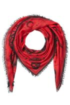 Alexander Mcqueen Alexander Mcqueen Printed Scarf With Silk - Red