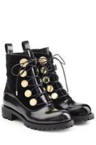 Alexander Mcqueen Alexander Mcqueen Leather And Velvet Ankle Boots