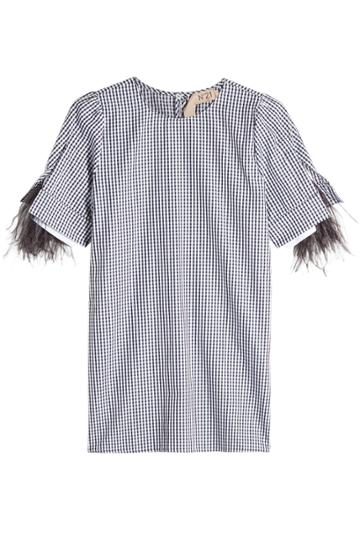 N 21 N°21 Plaid Cotton Blouse With Ostrich Feathers