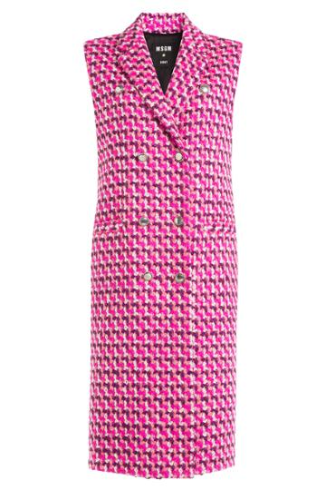 Msgm Msgm Fleece Wool Sleeveless Coat - Pink