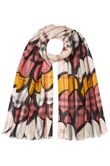 Burberry London Burberry London Print Scarf With Wool And Mulberry Silk