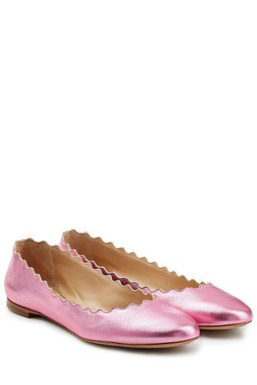 Chloé Chloé Scalloped Leather Ballerinas