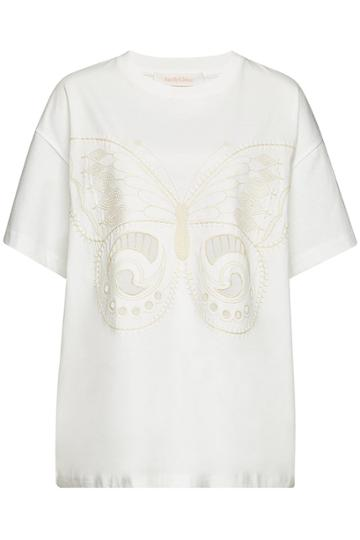 See By Chloé See By Chloé Embroidered Cotton T-shirt