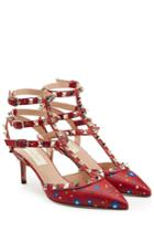 Valentino Valentino Printed Leather Rockstud Kitten Heel Pumps - Multicolor