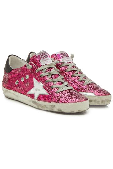 Golden Goose Deluxe Brand Golden Goose Deluxe Brand Super Star Glitter Sneakers With Leather