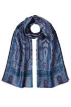 Etro Etro Printed Scarf With Wool And Silk - Blue