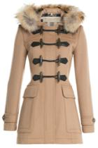 Burberry Brit Burberry Brit Blackwell Wool Duffle Coat With Fur - Camel