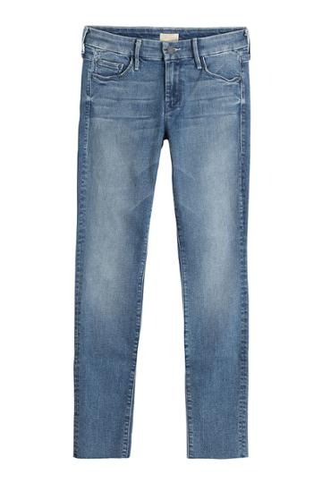 Mother Mother Distressed Skinny Jeans - Blue