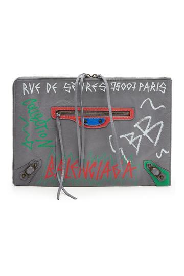 Balenciaga Balenciaga Graffiti Classic Leather Pouch