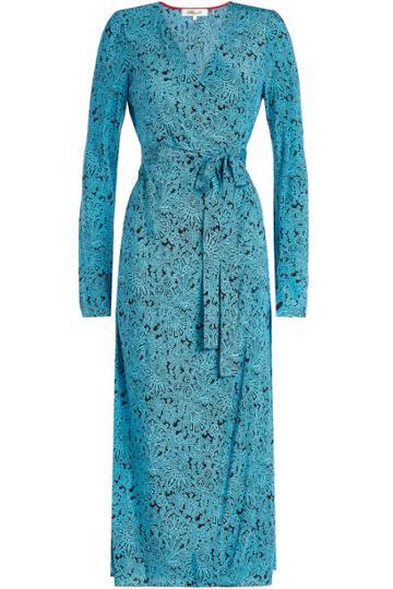 Diane Von Furstenberg Diane Von Furstenberg Printed Silk Midi Wrap Dress