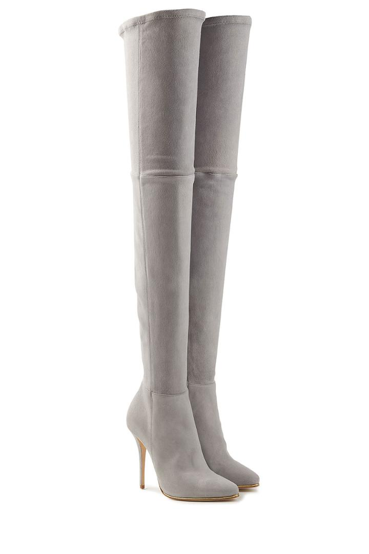 Balmain Balmain Suede Thigh-high Boots - Grey